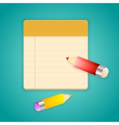 Colored pencils and simple lined notebook vector