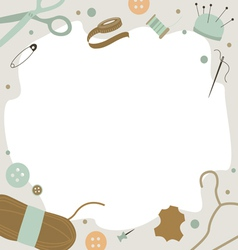 Background with sewing tools vector