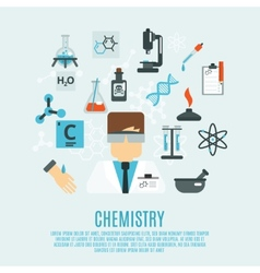 Chemistry flat icon set vector