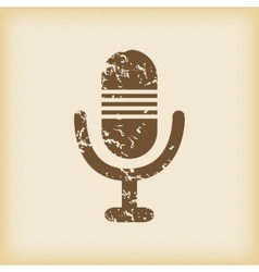 Grungy microphone icon vector