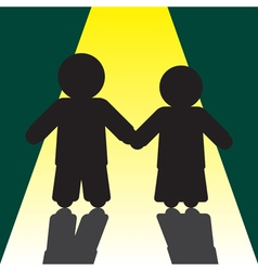 Boy and girl silhouettes with shadows vector
