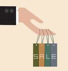 Hand hang with discount tag vector