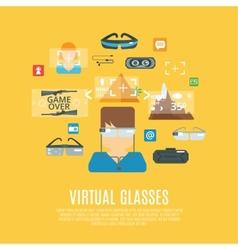 Virtual glasses flat vector
