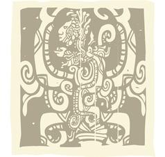 Mayan carvings vector