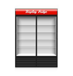 Double glass sliding door display fridge vector