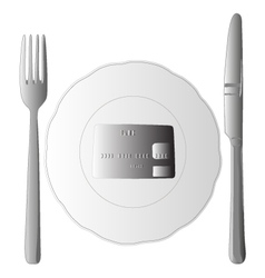 Fork and knife and bank card vector