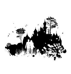Castle romance grunge concept vector