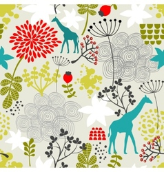 Seamless pattern with giraffe and flowers vector