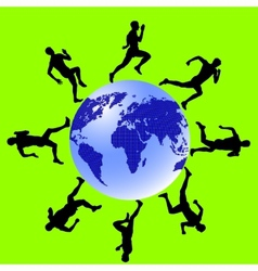 Silhouettes athletes run around the globe vector