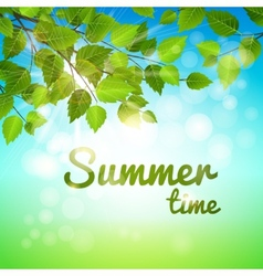 Summertime background with fresh green leaves vector