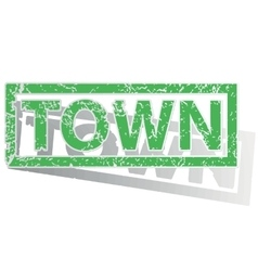 Green outlined town stamp vector