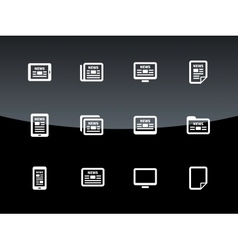Newspaper icons on black background vector