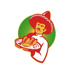 Mexican chef serving taco burrito empanada retro vector