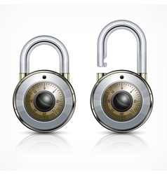 Two round padlock on white vector