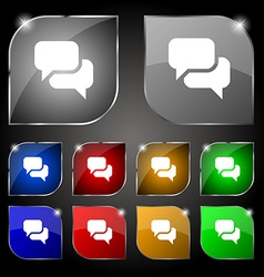 Speech bubble think cloud icon sign set of ten vector