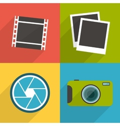 Flat style photography icons with long shadow set vector