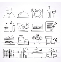 Cafe and bar icons vector