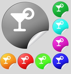 Drink cocktail with a lemon icon sign set of eight vector