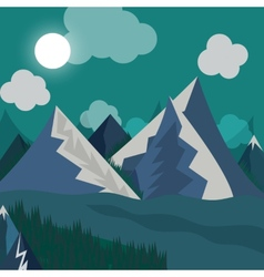 Natural landscape in the style of flat in night vector