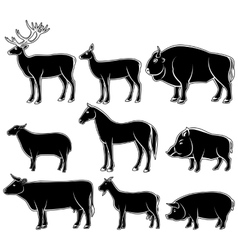 Set of monochrome wild and domestic animals vector