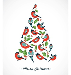 Christmas tree with birds and holly leafs vector
