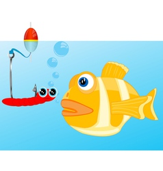 Fish and bait on hook vector