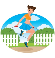 Little girl with a skipping rope vector