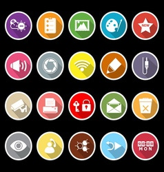 General computer screen flat icons with long vector