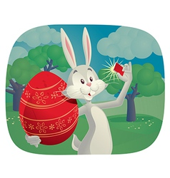 Rabbit takes selfie with easter egg cartoon vector