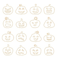 Halloween decorating jack-o-lantern silhouette set vector