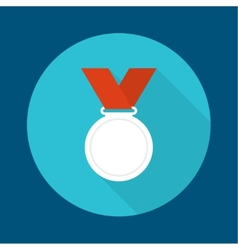 Silvermedal with red ribbon vector