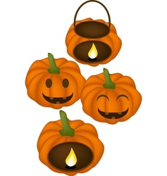 Four jack-o-lantern pumpkins with candle light vector