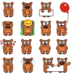 Smiley bears individually grouped vector