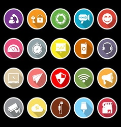 Smart phone screen flat icons with long shadow vector