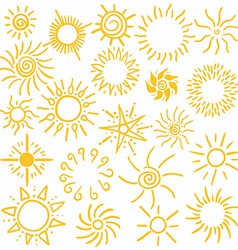 Hand drawn set of different suns isolated vector