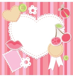Cute pink scrap set vector