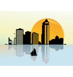 Sunset on a business city vector