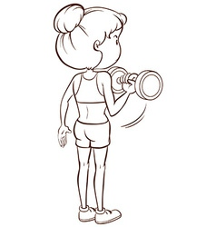 A plain sketch of a lady training vector