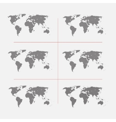 Set of striped world maps in different resolution vector