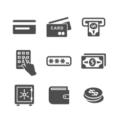 Atm and money icons vector