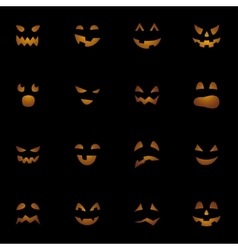 Halloween pumpkins faces on black background vector