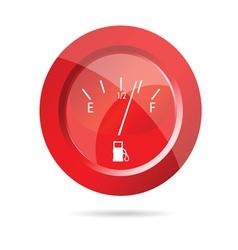Fuel gauge red icon vector