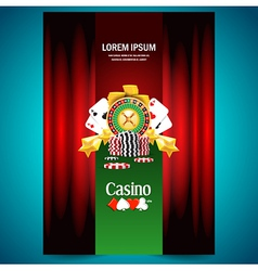 Cover poster face casino european roulette money vector