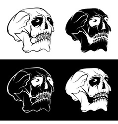 Set of skulls with eyes design template vector