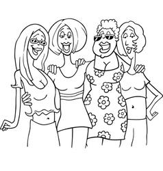 Women friends cartoon vector