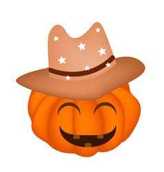 A happy halloween pumpkin in cowboy hat vector