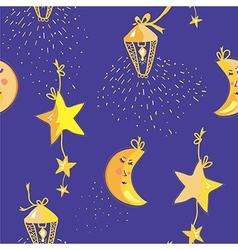 Night pattern with moon stars seamless vector