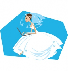 Bride working on a computer vector