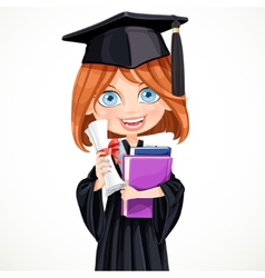Girl in cap holding a scroll diploma vector