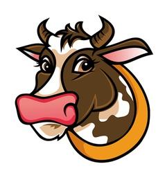 Brown farm cow vector